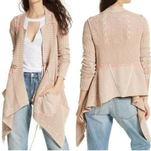 Free People All Washed Out Open Front Cardigan NWT